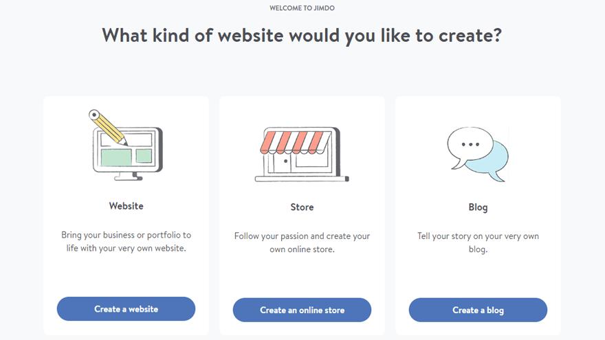 Выбор типа сайта в Jimdo